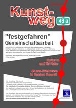 """Kunstwerk """"Festgefahren"""" an der A49"""